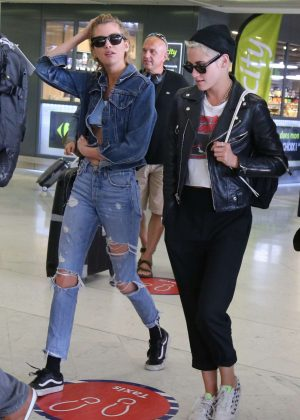 Kristen Stewart and Stella Maxwell at Orly Airport in Paris