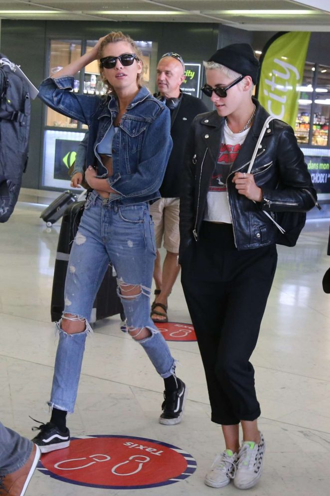 Kristen Stewart and Stella Maxwell at Orly Airport in Paris