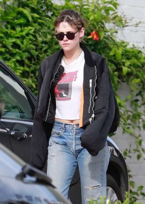 Kristen Stewart in Bomber Jacket - Leaving a spa in Los Angeles