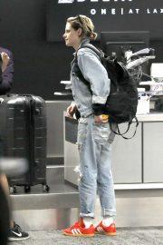 Kristen Stewart in Denim - Arrives at LAX Airport in Los Angeles