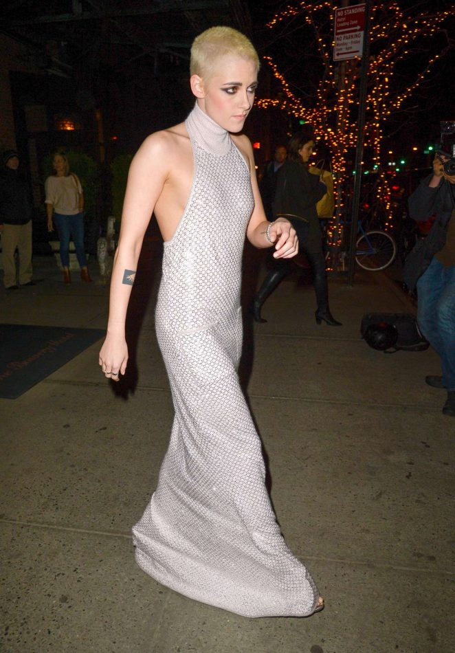 Kristen Stewart in Long Dress Leaving her Hotel -04