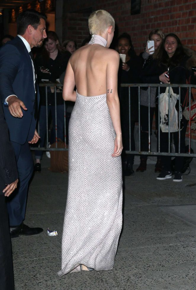Kristen Stewart in Long Dress Leaving her Hotel -06