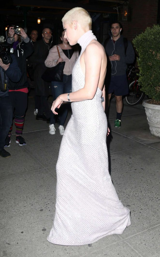 Kristen Stewart in Long Dress Leaving her Hotel -08