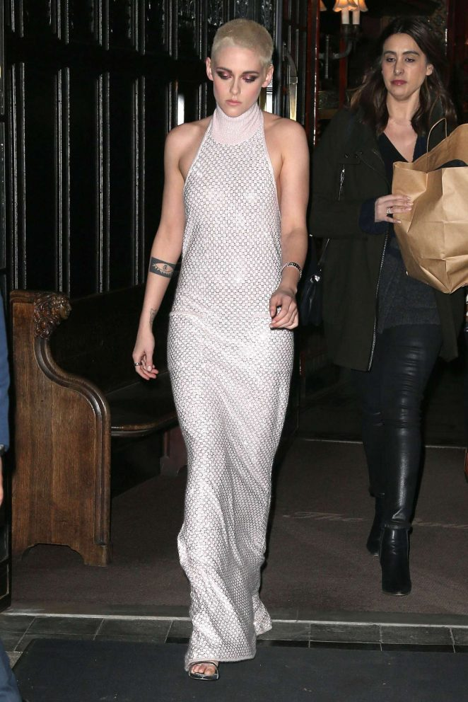 Kristen Stewart in Long Dress Leaving her Hotel -09
