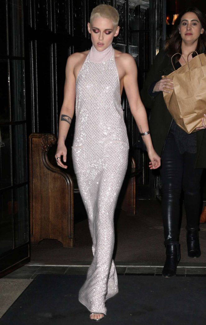 Kristen Stewart in Long Dress Leaving her Hotel -10