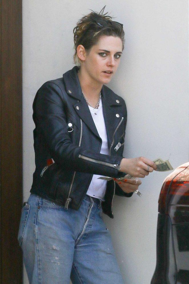 Kristen Stewart in Rocks Black Leather Jacket out in Los Angeles