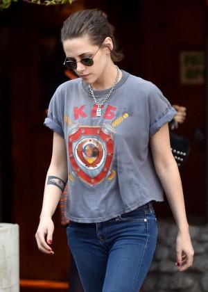 Kristen Stewart in Jeans Leaves Lucy's El Adobe Cafe in Hollywood