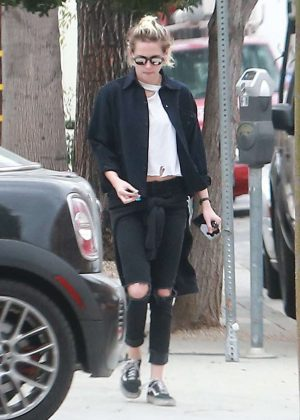 Kristen Stewart in Black Ripped Jeans out in West Hollywood