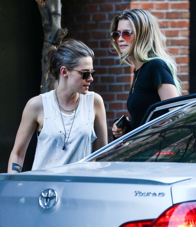 Kristen Stewart with Abbey Lee out in Soho