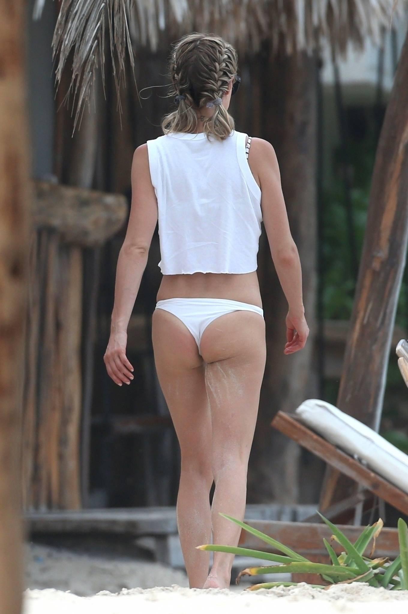Kristin Cavallari 2020 : Kristin Cavallari – In a white bikini on the beach in Tulum -12