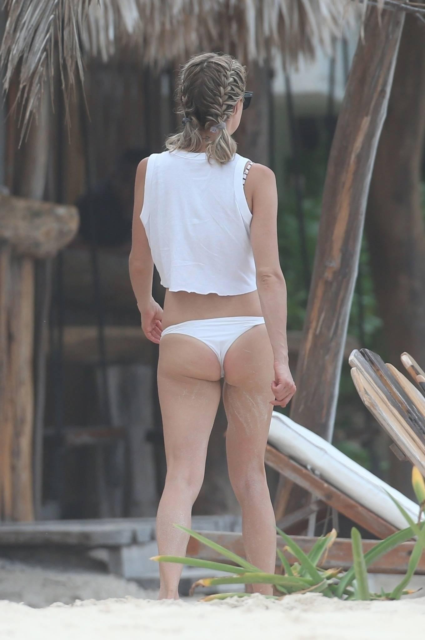 Kristin Cavallari 2020 : Kristin Cavallari – In a white bikini on the beach in Tulum -15
