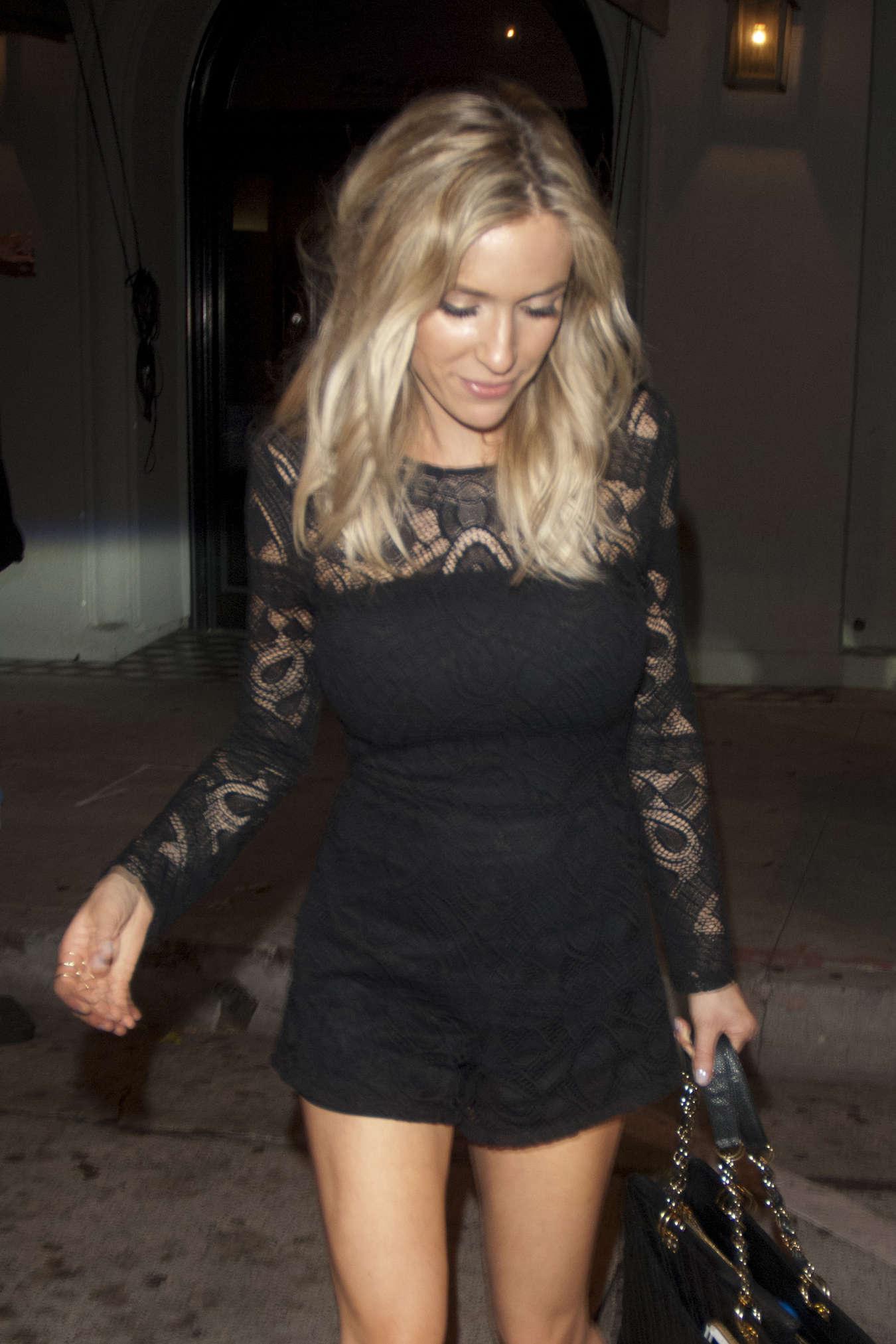 Kristin Cavallari in black lace romper at Craig's in Los Angeles