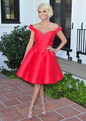 Kristin Chenoweth in Red Dress on EXTRA in Los Angeles