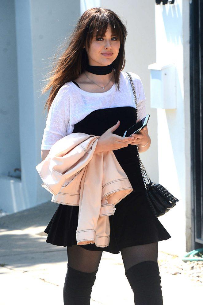 Kristina Bazan in Mini Dress Heads to Nine Zero One hair salon in West Hollywood
