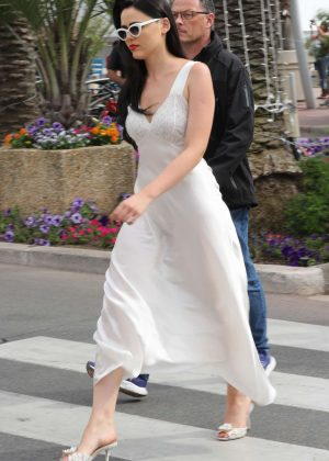 Kristina Bazan in White Dress out in Cannes