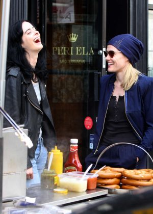 Krysten Ritter and Rachael Taylor - Filming 'Jessica Jones' set in Manhattan