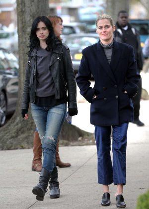 Krysten Ritter and Rachel Taylor - On set of 'Jessica Jones' in New York