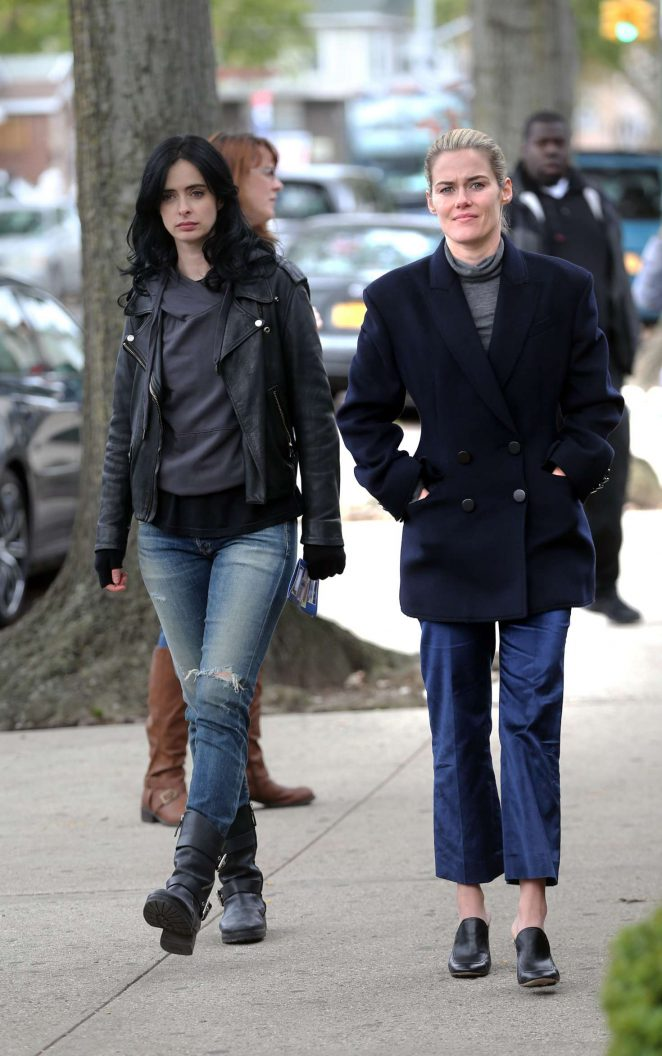 Krysten Ritter and Rachel Taylor – On set of 'Jessica Jones' in New York