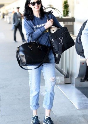 Krysten Ritter in Jeans at LAX Airport in Los Angeles