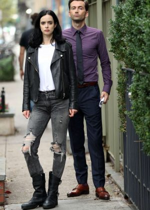Krysten Ritter - Filming 'Jessica Jones' in New York
