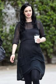 Krysten Ritter in Black Dress at Verve Coffee in West Hollywood