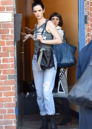 Krysten Ritter in Jeans Leaves a Studio in Hollywood