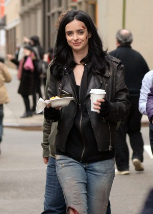 Krysten Ritter in Jeans On set of 'A.K.A. Jessica Jones' in NYC