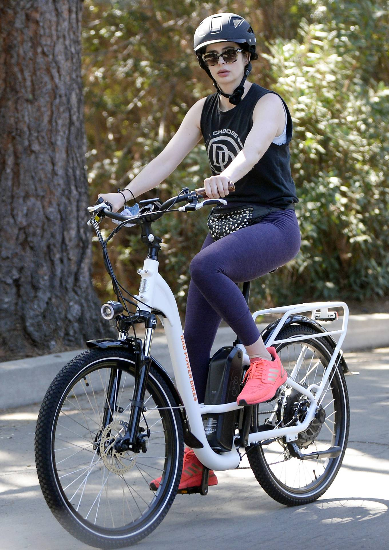 Krysten Ritter - Rides Rad Rover electric bicycle in Los Angeles