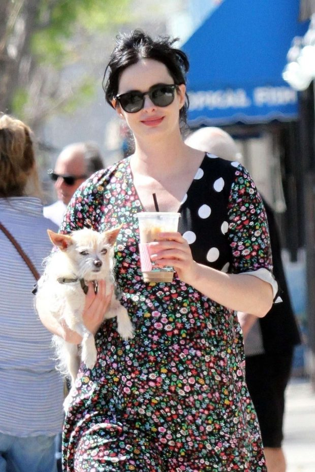 Krysten Ritter with her dog out in Studio City