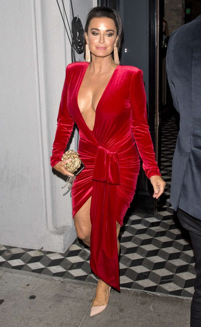 Kyle Richards in Red Dress - Leaves Craig's in West Hollywood