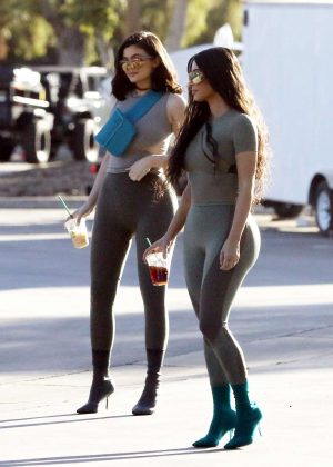 Kylie Jenner and Kim Kardashian - Shooting for Yeezy in Calabasas