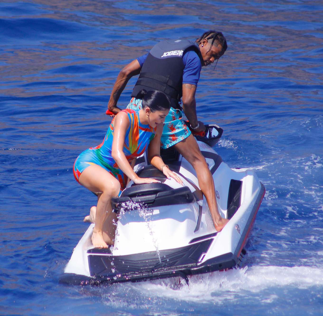 Kylie Jenner and Travis Scott - Spotted on a jet ski in Positano in Italy