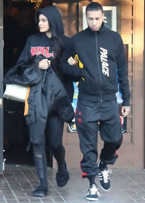 Kylie Jenner and Tyga leave a restaraunt in Los Angeles