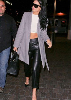 Kylie Jenner in Leather at LAX Airport in Los Angeles