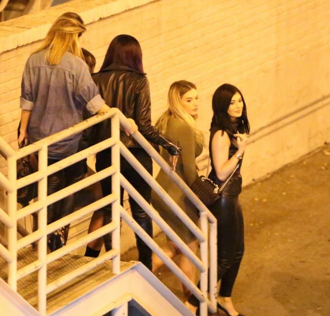 Bryson Tiller And Kylie: Kylie Jenner In Leather At Bryson Tiller Concert -02
