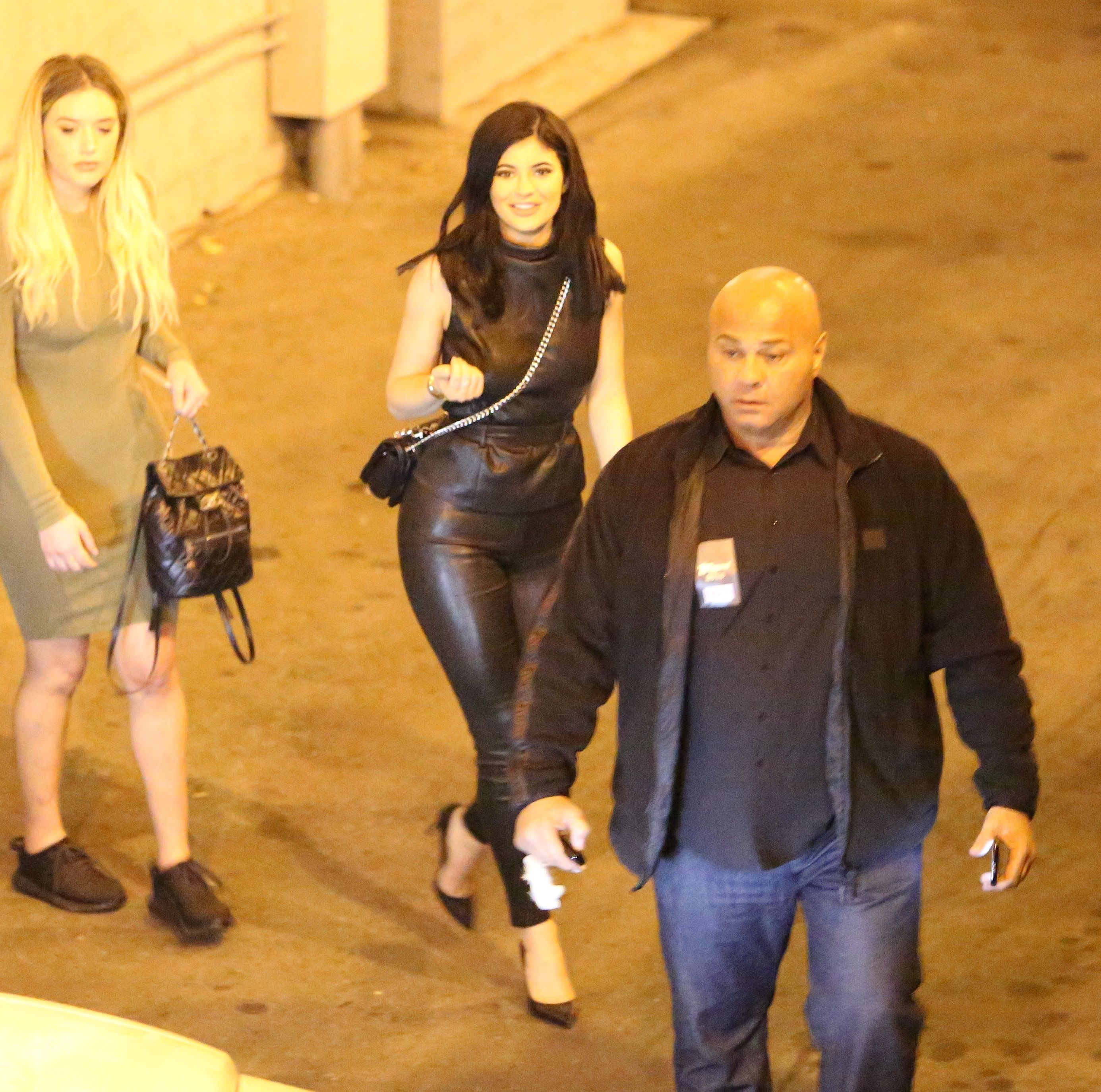 Bryson Tiller And Kylie: Kylie Jenner In Leather At Bryson Tiller Concert -23