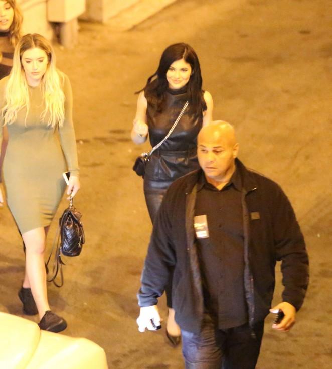 Bryson Tiller And Kylie: Kylie Jenner In Leather At Bryson Tiller Concert -26