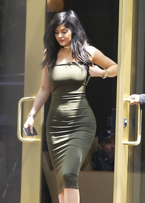 Kylie Jenner in Tight Dress at Maxfeid in West Hollywood