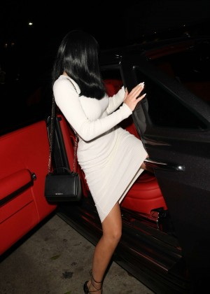 Kylie Jenner in White Tight Dress -03