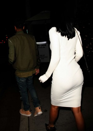 Kylie Jenner in White Tight Dress -05