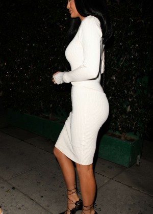 Kylie Jenner in White Tight Dress at Mr Chow in Beverly Hills
