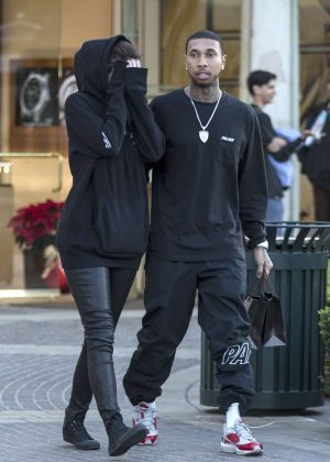 Kylie Jenner Covers her face with Tyga in Calabasas