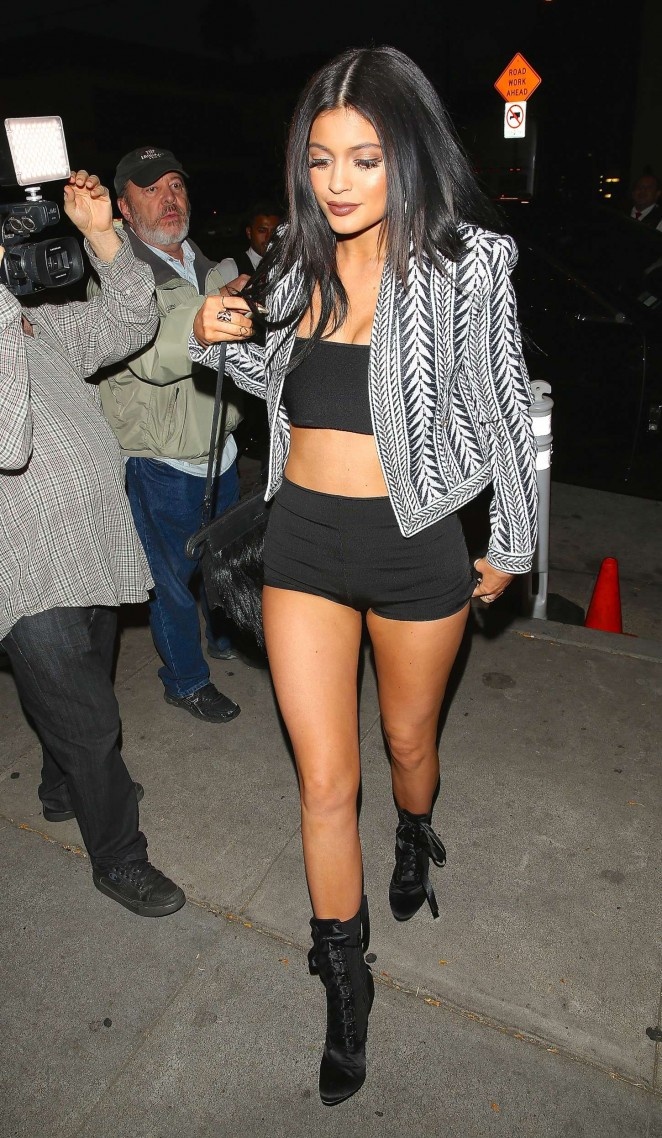 Kylie Jenner in Tank Top and Short Shorts -02