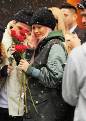 Kylie Jenner greets her fans in the snowfall in NY