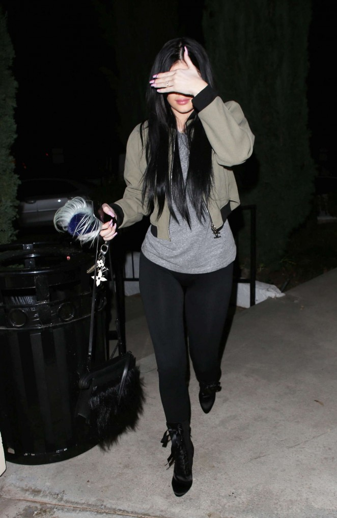Kylie Jenner in Tights - Having dinner at Sugarfish in LA