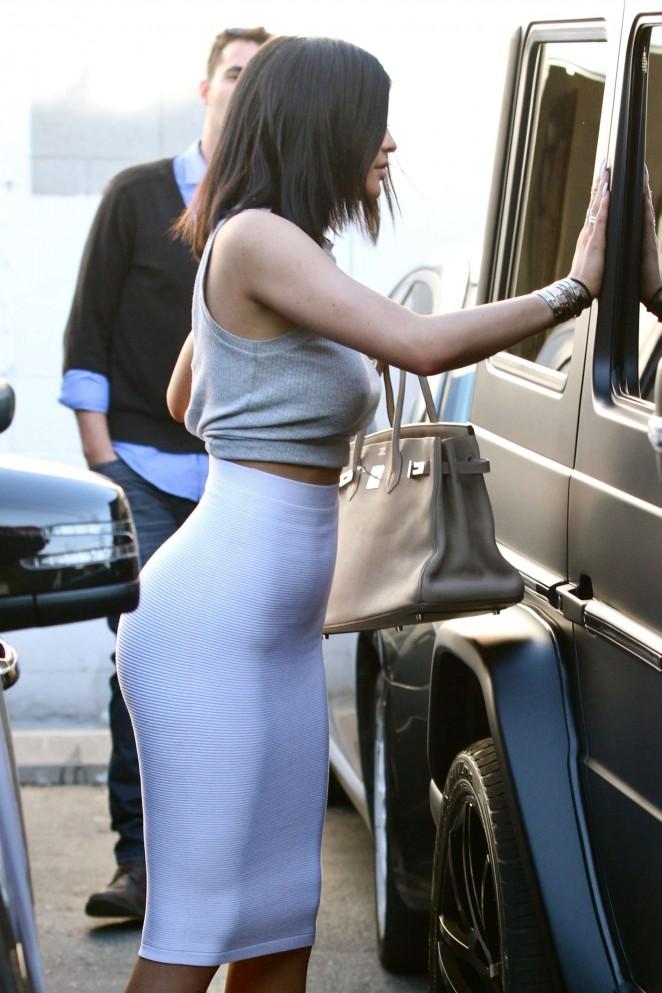 Kylie Jenner - Hot in White Skirt in LA