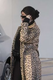 Kylie Jenner in Animal Print Coat - Goes Christmas shopping at Moncler in Beverly Hills