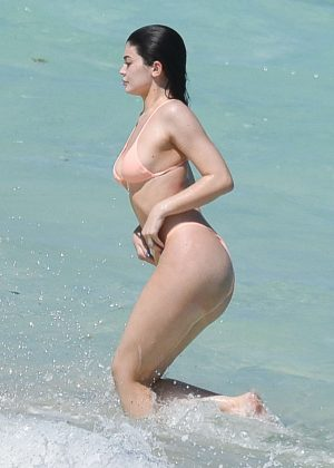 Kylie Jenner in Bikini on the beach in Turks and Caicos