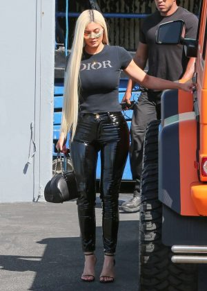 Kylie Jenner In Black Latex Pants Out In La