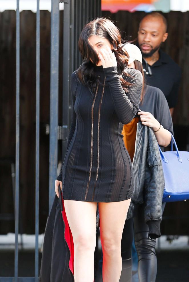Kylie Jenner in Black Mini Dress at the studio in van Nuys